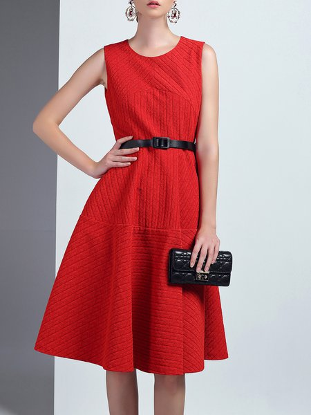 Red Jacquard Crew Neck Sleeveless Elegant Midi Dress