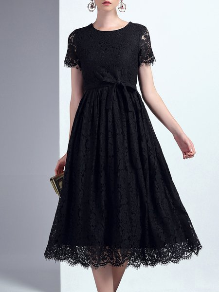 Black Elegant Plain Guipure Lace Crew Neck Midi Dress