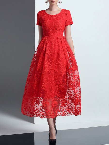 Elegant Crew Neck Floral Embroidered Short Sleeve Midi Dress