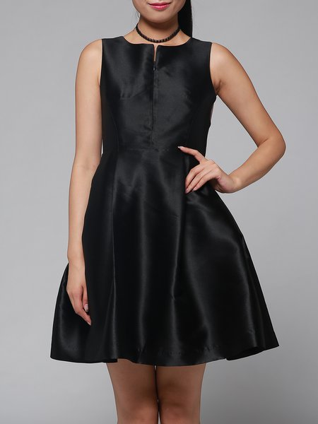 Black Sleeveless Paneled Swing Mini Dress