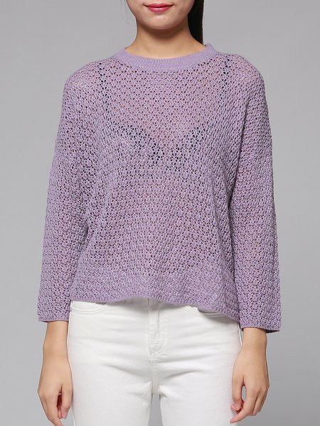 Purple Pierced Simple Sweater
