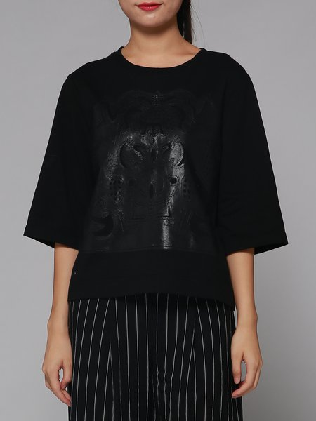 Black Crew Neck 3/4 Sleeve Appliqued Abstract T-Shirt