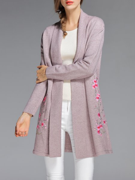 Pink Embroidered Long Sleeve Vintage Cardigan