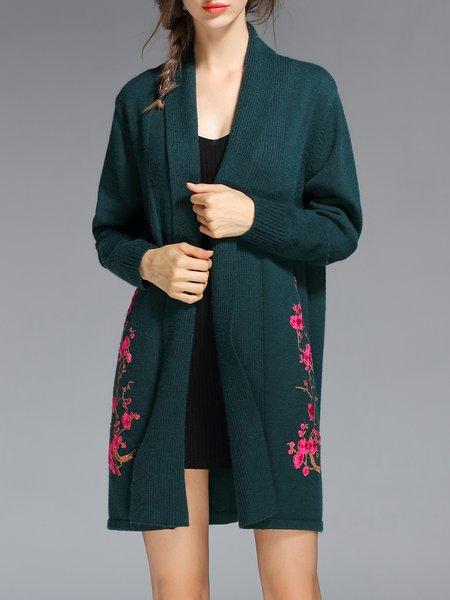 Dark Green Vintage Floral Cardigan