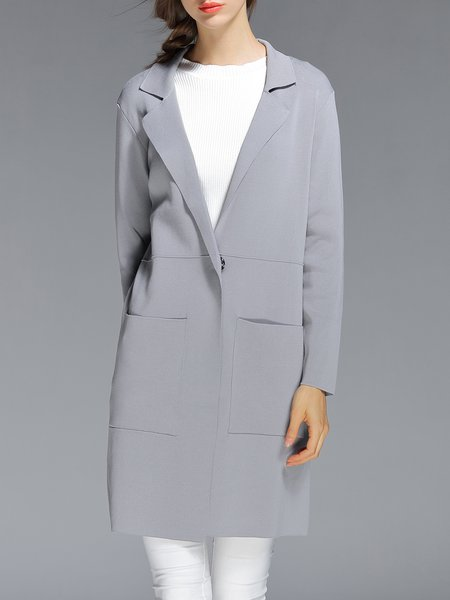 Gray Knitted Lapel Long Sleeve Solid Cardigan