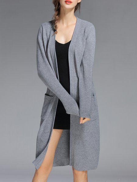 Gray Pockets V Neck Long Sleeve Plain Cardigan