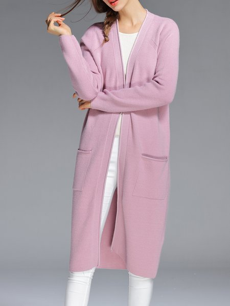 Pink Knitted Pockets V Neck Long Sleeve Cardigan