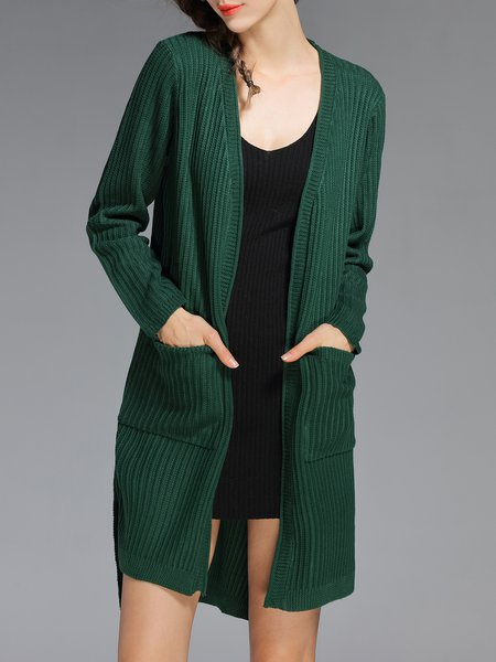 Green Pockets Simple Plain High Low Cardigan