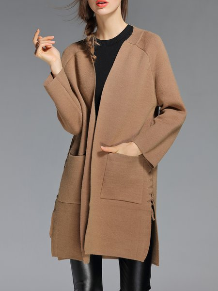 Coffee Long Sleeve Bandage Solid Cardigan