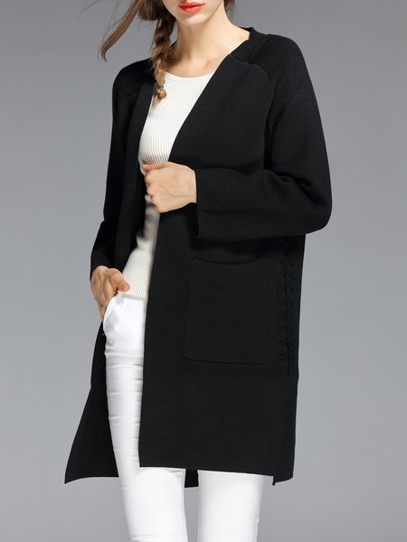Black Solid Bandage Knitted Long Sleeve Cardigan