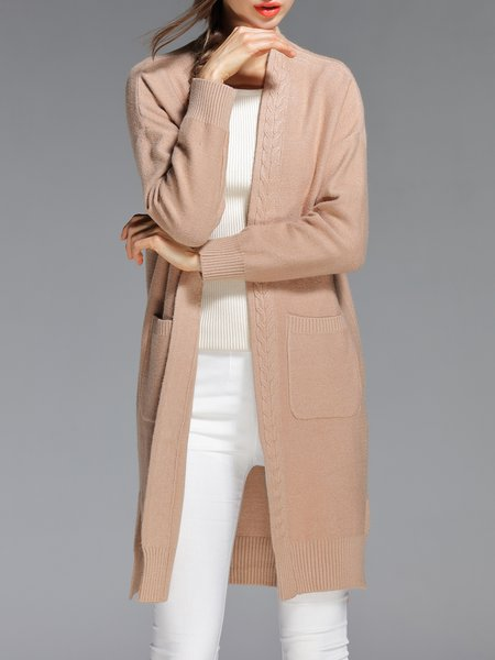Khaki Solid Slit Pockets Long Sleeve Cardigan