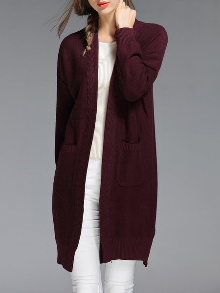 Purple Solid Slit Pockets Simple Cardigan