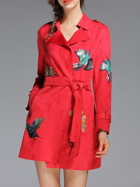 Red Elegant Embroidered Suede Lapel Coat with Belt