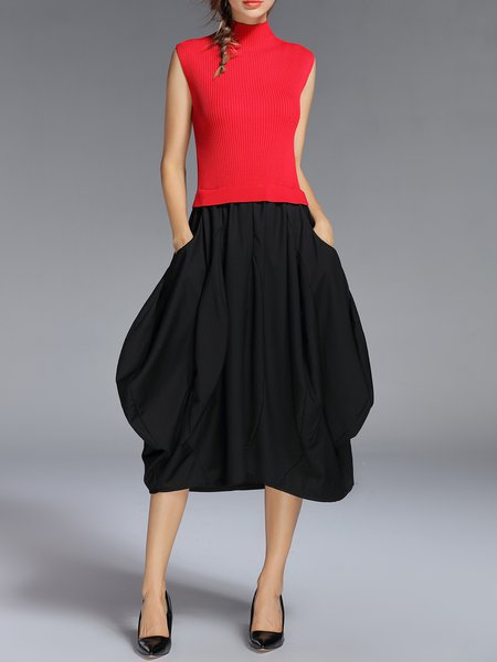 Red Statement Asymmetrical Pockets Sleeveless Midi Dress
