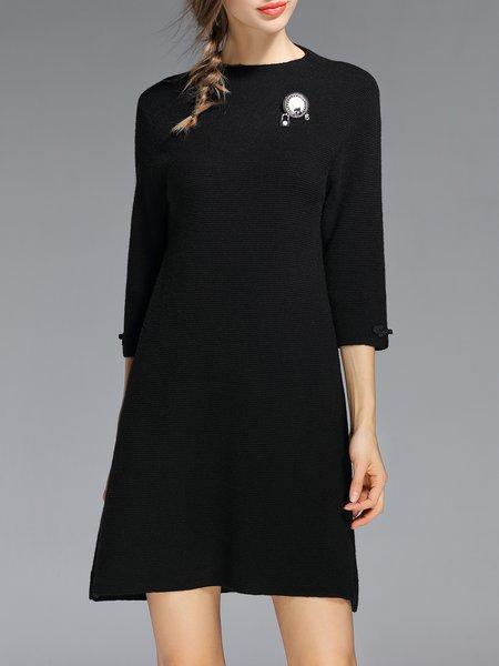 Black Ribbed A-line 3/4 Sleeve Mini Dress