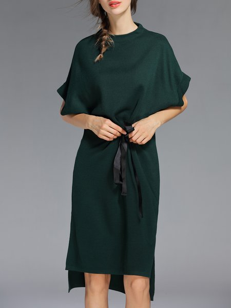 Green Simple Plain Batwing High Low Midi Dress