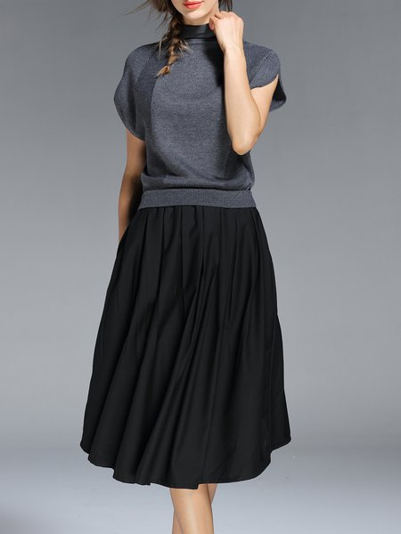 Gray Casual Turtleneck Cotton-blend Midi Dress