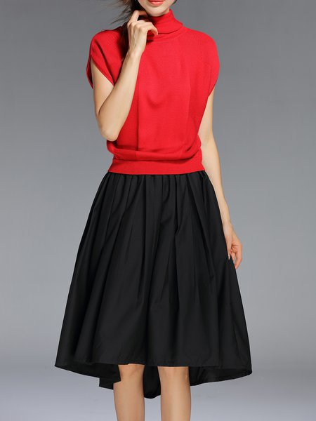 Red Short Sleeve Paneled Simple Turtleneck Midi Dress