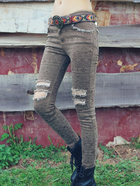 Coffee Ripped Pockets Tribal Casual Denim Jeans