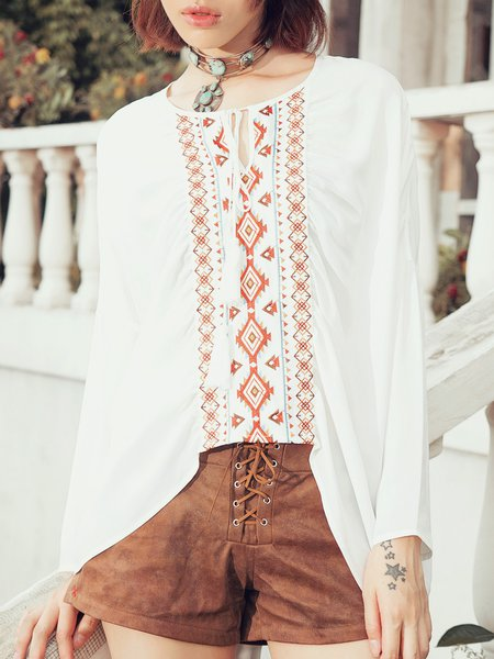 White Keyhole Simple Tribal Long Sleeved Top