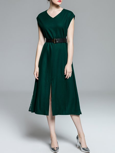 Dark Green Elegant V Neck Short Sleeve Midi Dress with Belt