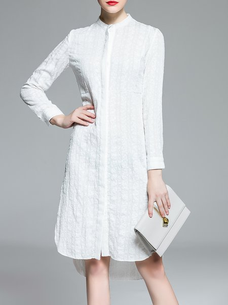 White Stand Collar High Low Jacquard Long Sleeve Shirt Dress