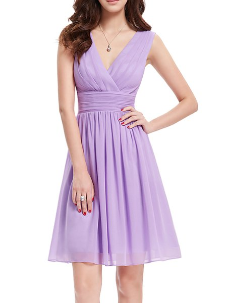 Folds Solid Elegant Ruched A-line V Neck Midi Dress