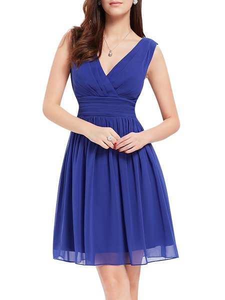 Ruched Sleeveless Elegant V Neck Solid Folds Midi Dress