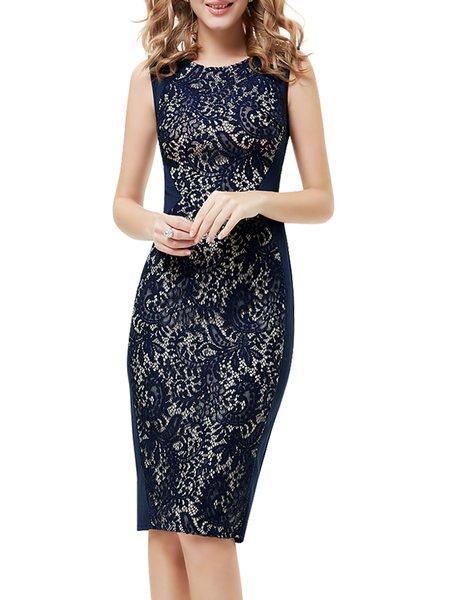 Blue Lace Sexy Sheath Midi Dress
