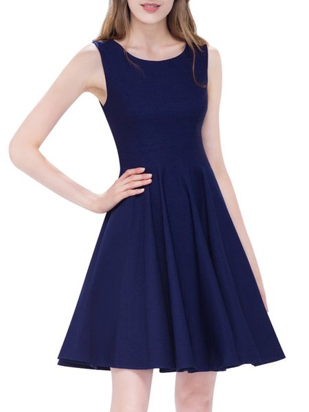 Navy Blue Girly Solid Cotton-blend Midi Dress