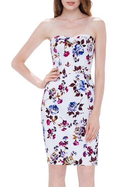 Floral-printed Sweetheart Girly Spaghetti H-line Midi Dress