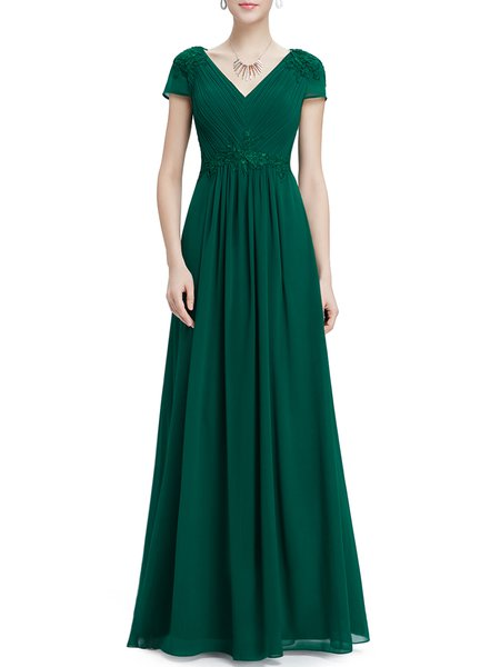 Solid Short Sleeve Elegant Folds Swing Evening Dress