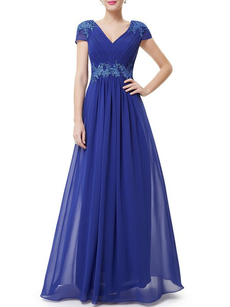 Solid Short Sleeve V Neck Elegant Chiffon Evening Dress