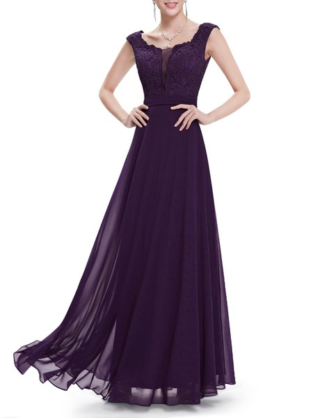 Paneled Floral Scoop Neckline Elegant Evening Dress