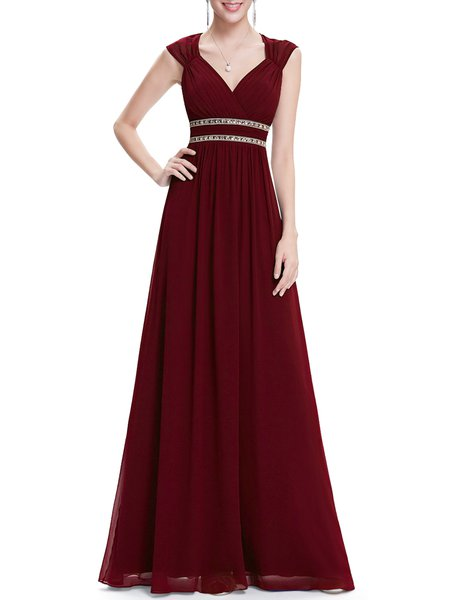 Beaded Sweatheart Chiffon Pleated Plain Evening Dress