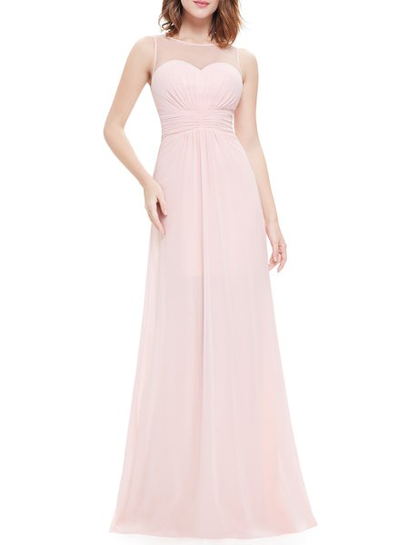 Pink Ball Gown Paneled Solid Sleeveless Evening Dress