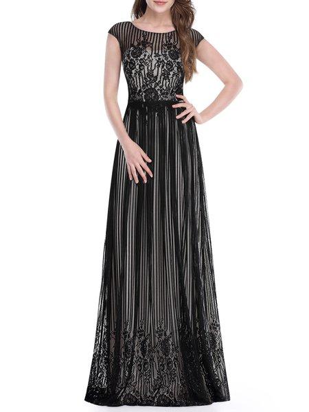 Black Ball Gown Short Sleeve Pierced Evening Dress