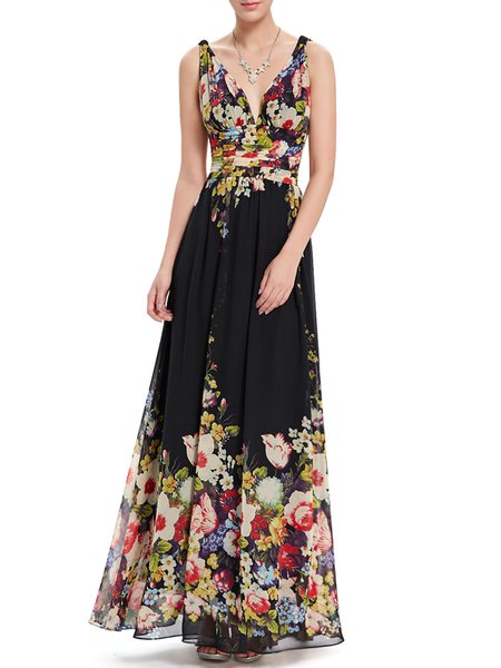 Black Plunging Neck Sleeveless Floral-print Evening Dress