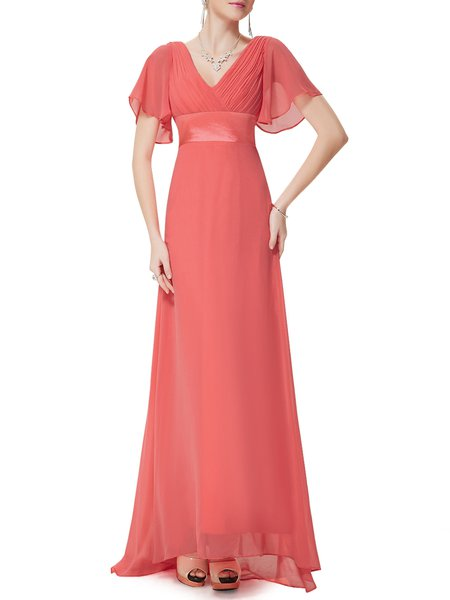 Elegant Ruched Frill Sleeve Evening Dress