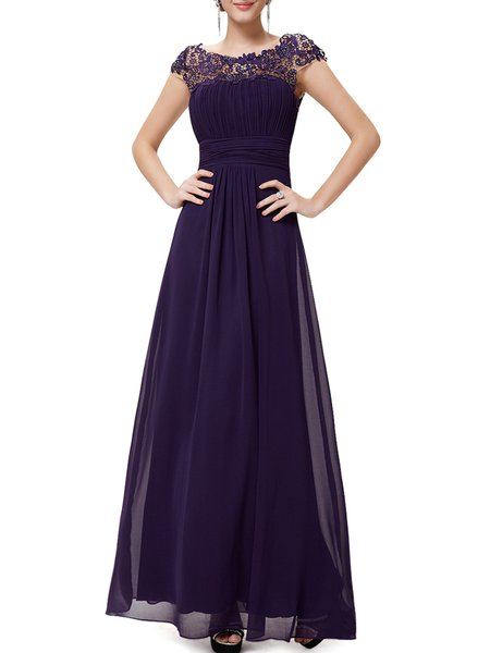 Paneled Elegant Swing Ruched Polyester Evening Dress
