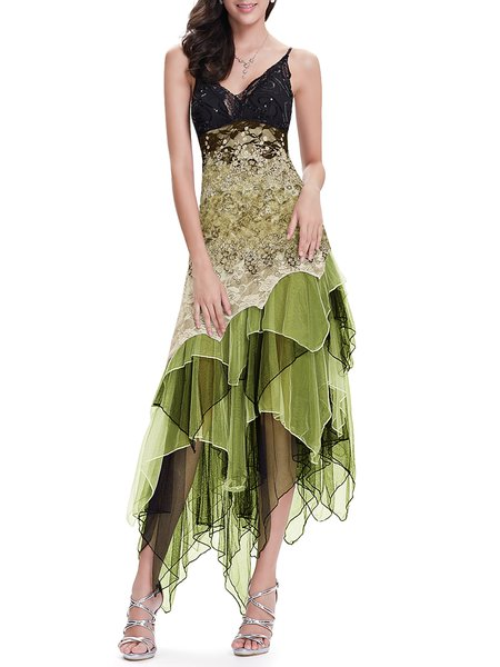 Army Green Asymmetrical Ombre/Tie-Dye Spaghetti Evening Dress