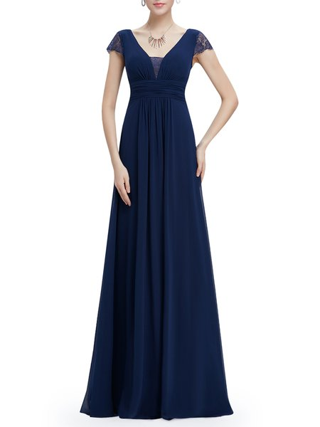 Dark Blue Ruched Elegant Square Neck Evening Dress