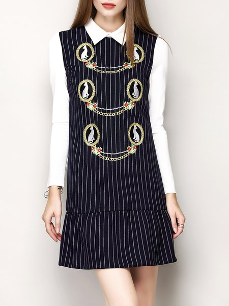 Long Sleeve Embroidered Stripes Casual Mini Dress