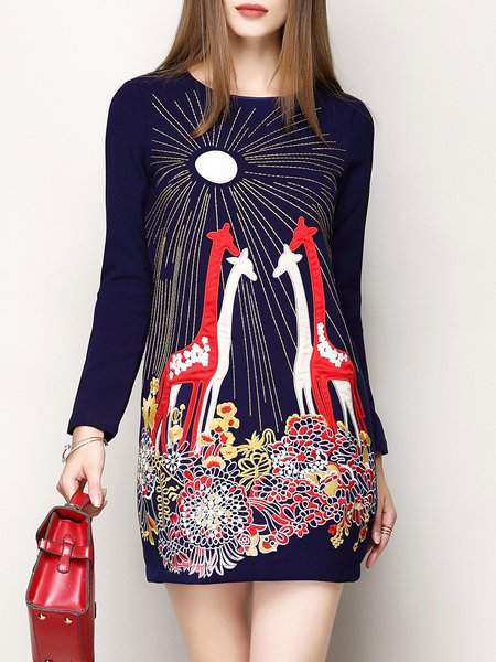 Dark Blue Crew Neck Long Sleeve Spandex Embroidered Mini Dress