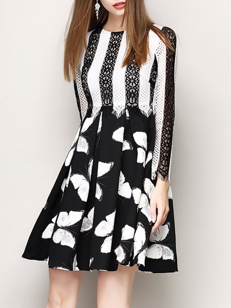 Black Girly Animal Print Midi Dress