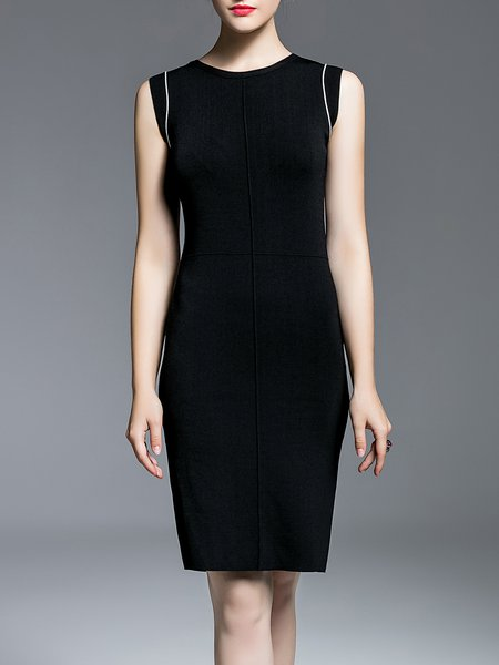 Black Sheath Paneled Elegant Midi Dress