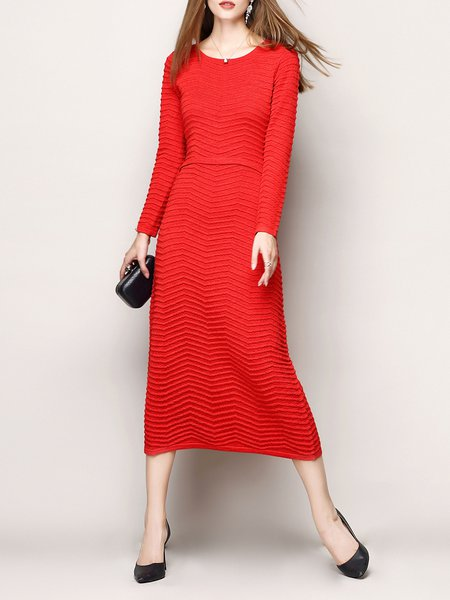 Red Crew Neck Elegant H-line Midi Dress