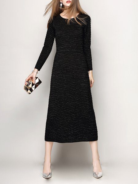 Black Knitted H-line Long Sleeve Plain Midi Dress