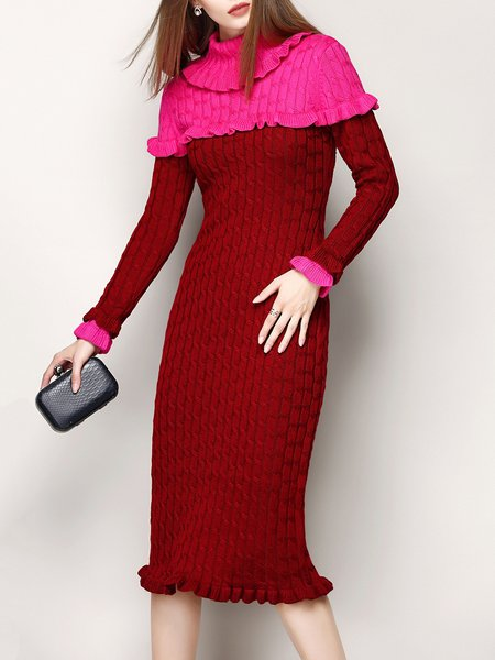 Red Elegant Color-block Knitted Turtleneck Midi Dress