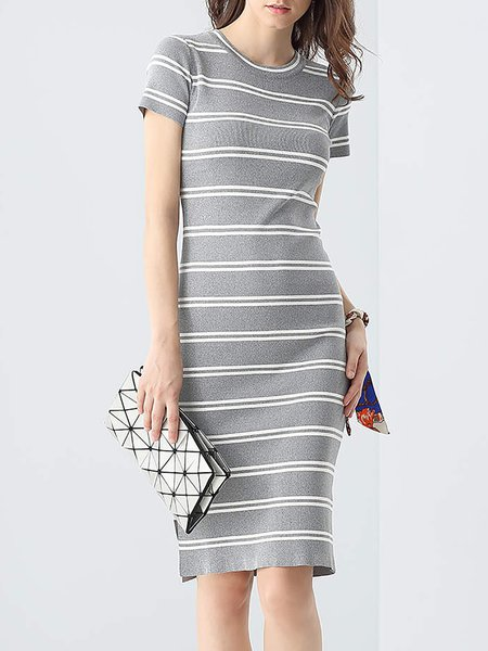 Gray Stripes Simple Slit Sweater Dress